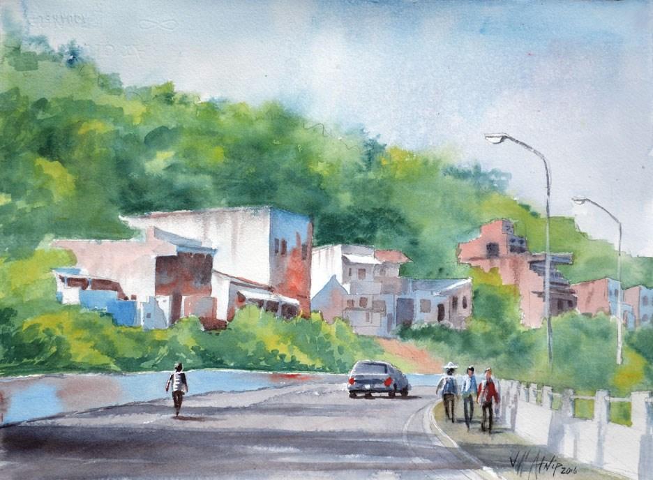 """Street In Brazil"" original fine art by Jeff Atnip"