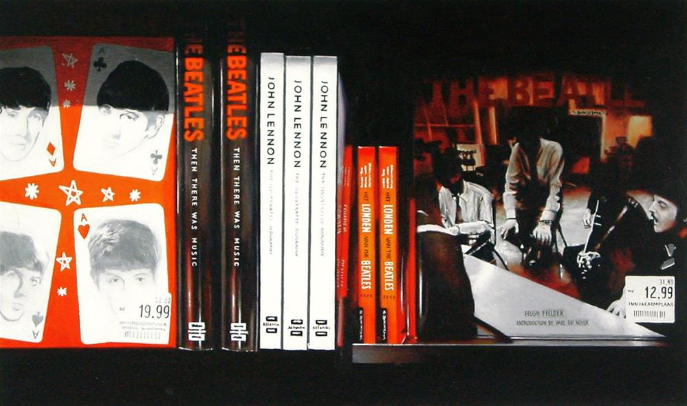 """""""Four Aces- Still Life Painting Of Bookshelf With Books On Beatles"""" original fine art by Gerard Boersma"""