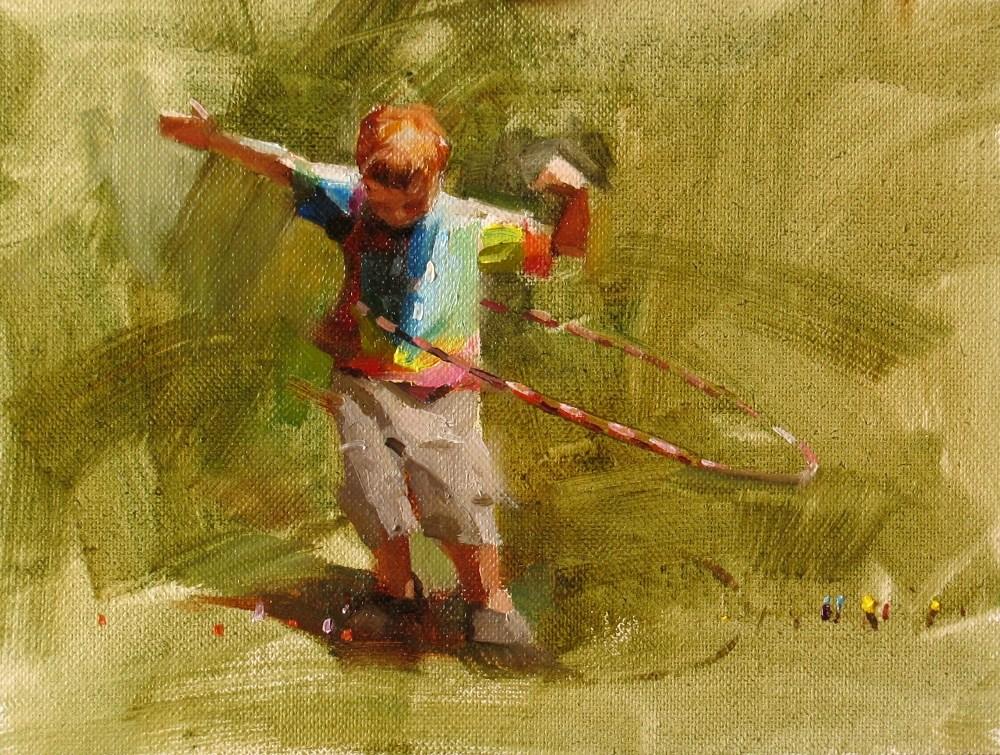 """""""""""Hula Ring Boy"""" original fine art by Qiang Huang"""