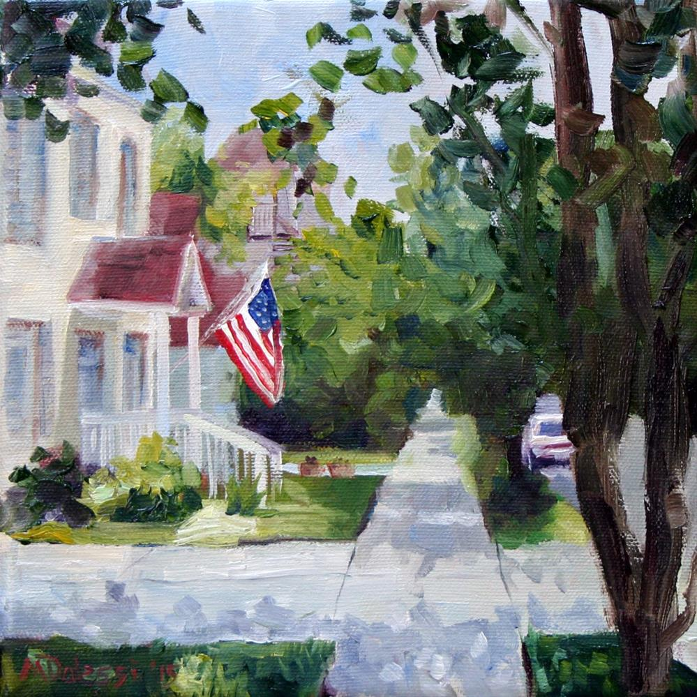 """""""the house with the flag"""" original fine art by Miranda Dalessi"""