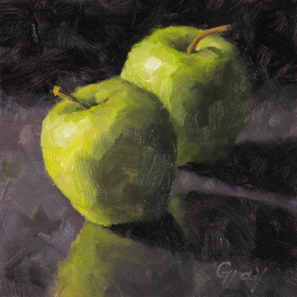 """Green Apples & Reflections"" original fine art by Naomi Gray"
