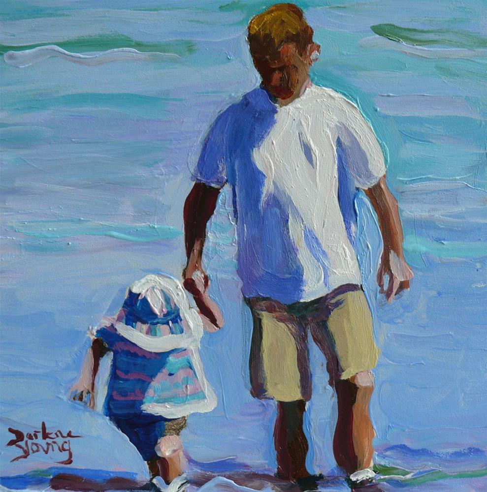 """""""852 Supporting Hand, Oil on board, 6x6"""" original fine art by Darlene Young"""