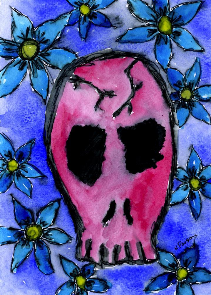 """Red Skull"" original fine art by Kali Parsons"