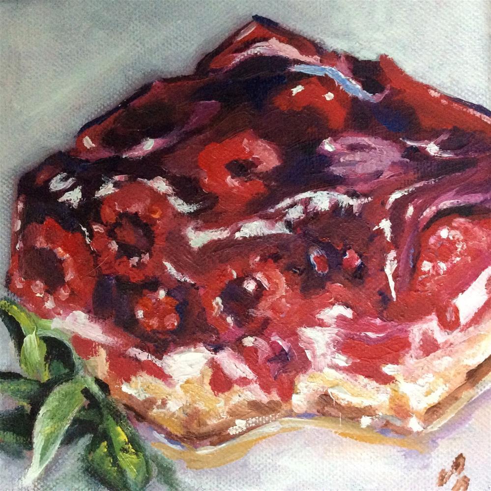 """Raspberry cake"" original fine art by Sonja Neumann"