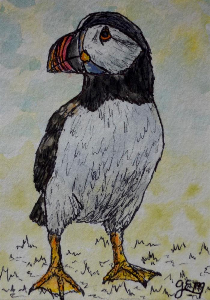 """""""Puffin Watercolor Aceo"""" original fine art by Gloria Ester"""