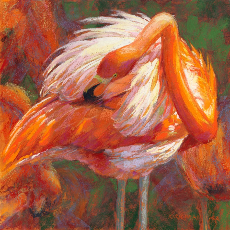 """F is for Flamingo"" original fine art by Rita Kirkman"