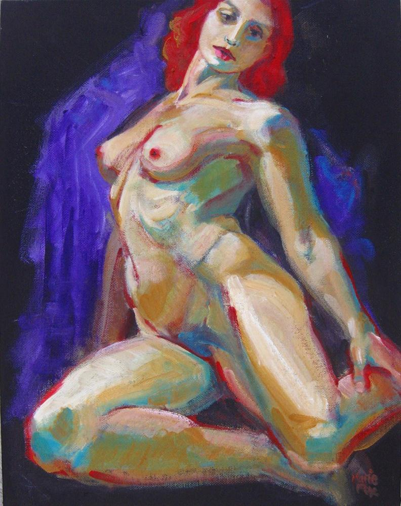 """""""Female Nude Original Colorful Painting of Woman by contemporary realism figurative painter"""" original fine art by Marie Fox"""