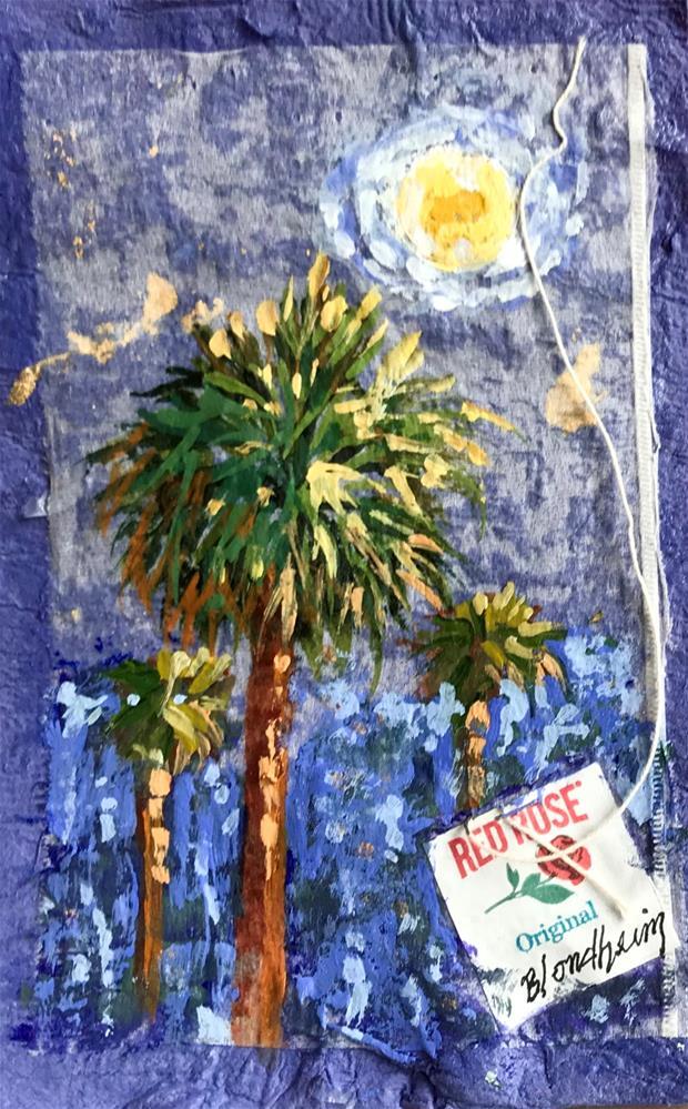 """Night Palms"" original fine art by Linda Blondheim"