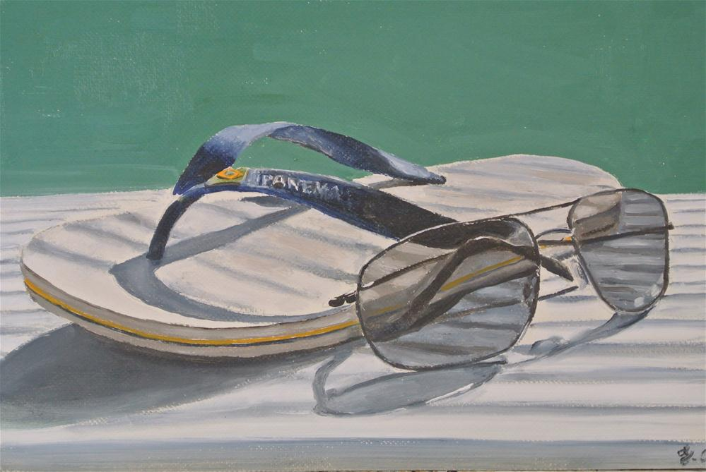 """Has Anybody Seen My Other Flip Flop?"" original fine art by James Coates"