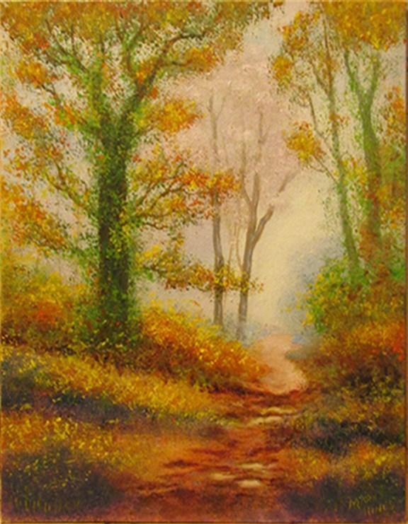 """Autumn Path 1"" original fine art by Mary Sylvia Hines"