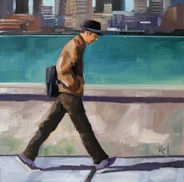 """No 794 The Walk Home"" original fine art by Robin J Mitchell"