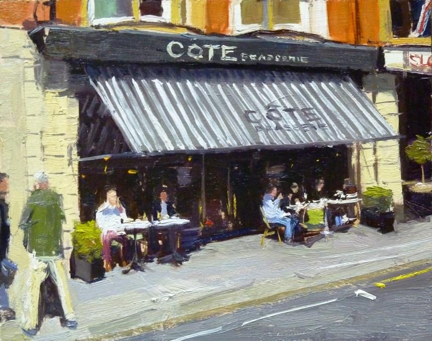 """Lunch Time, COTE Brasserie"" original fine art by Adebanji Alade"