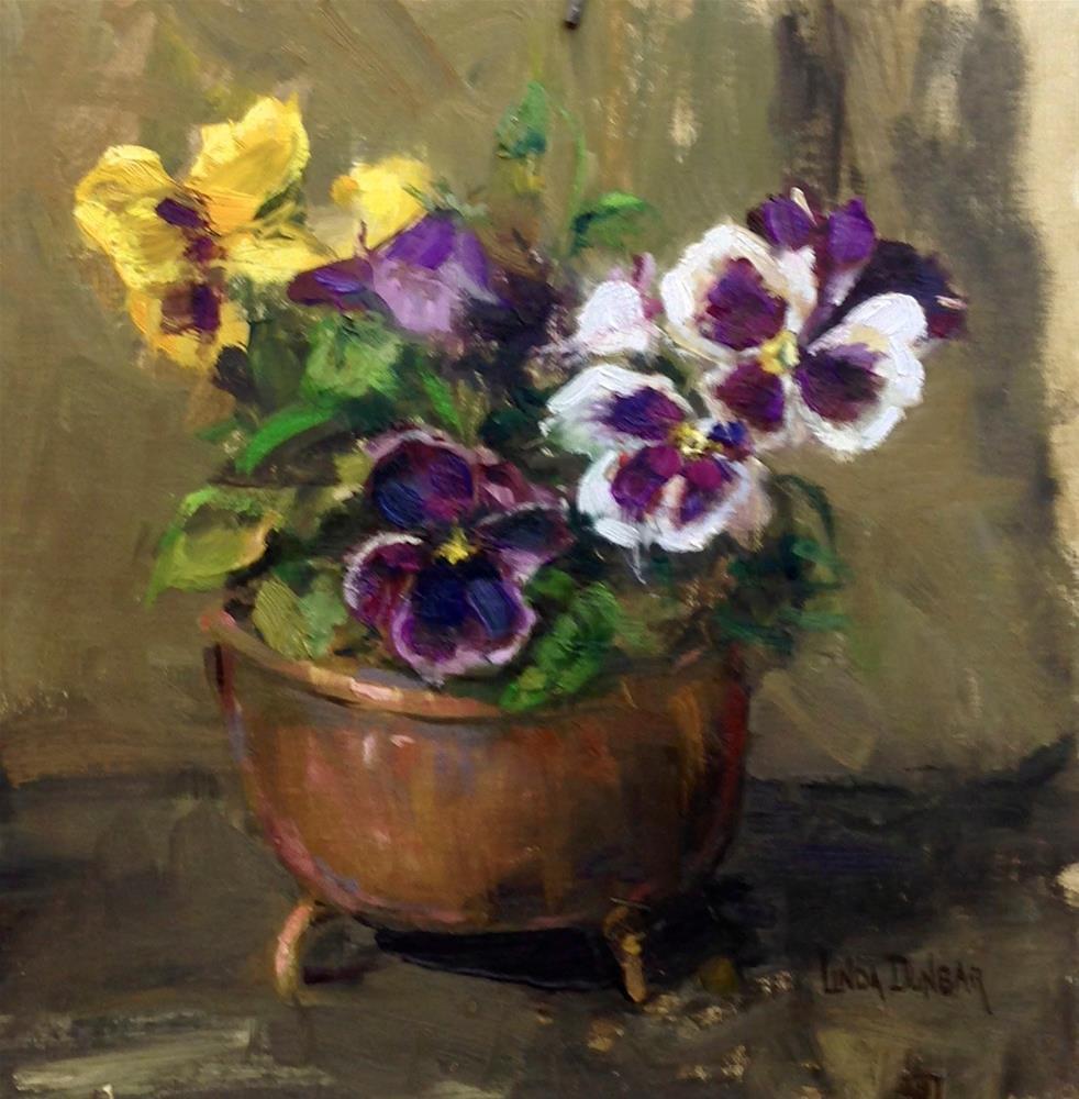"""""""Pansies with Penix"""" original fine art by Linda Dunbar"""