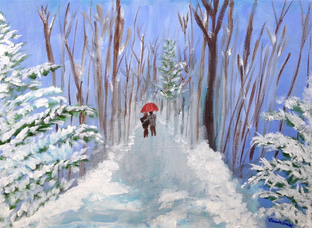 """""""Enjoying a Cold Walk Together"""" original fine art by Brenda Smith"""