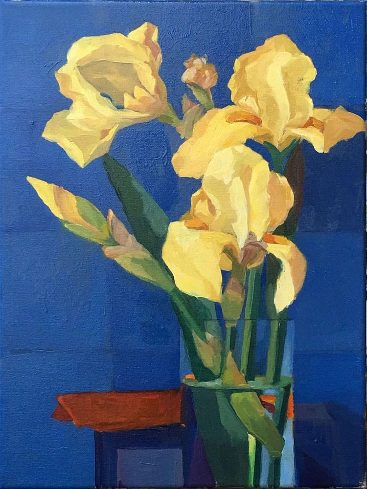 """""""Yellow Irises"""" original fine art by Myriam Kin-Yee"""