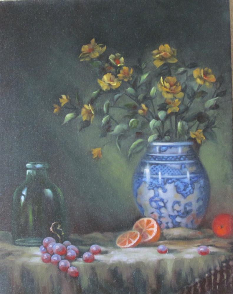 """Blue Delft and Oranges"" original fine art by Barbara Wagner"
