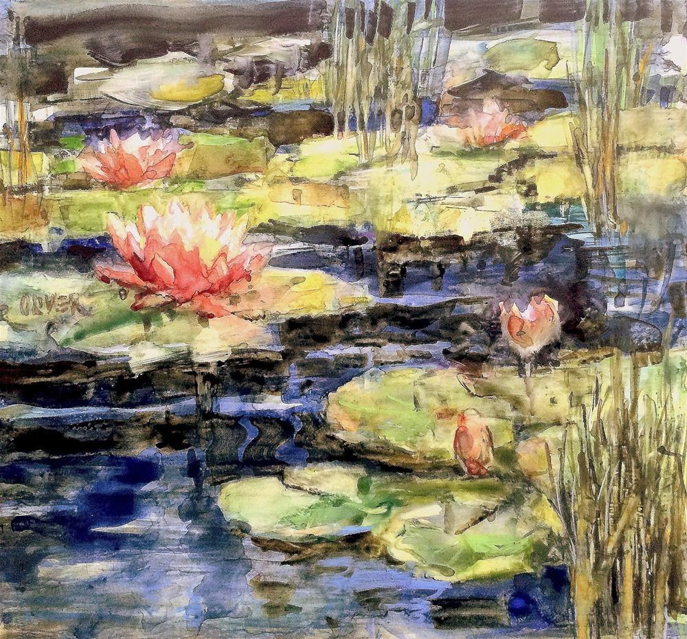 """Lily Pond  - Yupo Redo"" original fine art by Julie Ford Oliver"