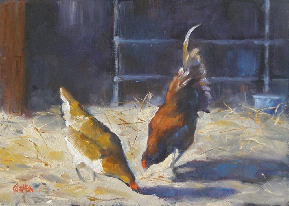"""Barn Chickens, 5x7 Oil on Canvas"" original fine art by Carmen Beecher"