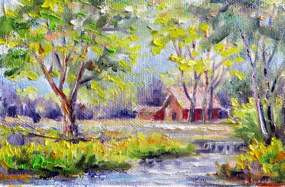 """""""Babbling Brook on the Farm"""" original fine art by Tammie Dickerson"""
