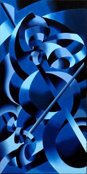 """Mark Webster - Blue Cellist - Abstract Geometric Futurist Figurative Oil Painting"" original fine art by Mark Webster"