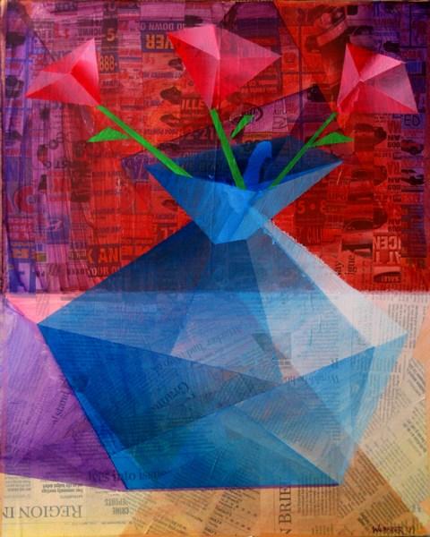 """Mark Adam Webster - Roses in a Translucent Blue Vase - Mixed Media on Stretched Canvas"" original fine art by Mark Webster"