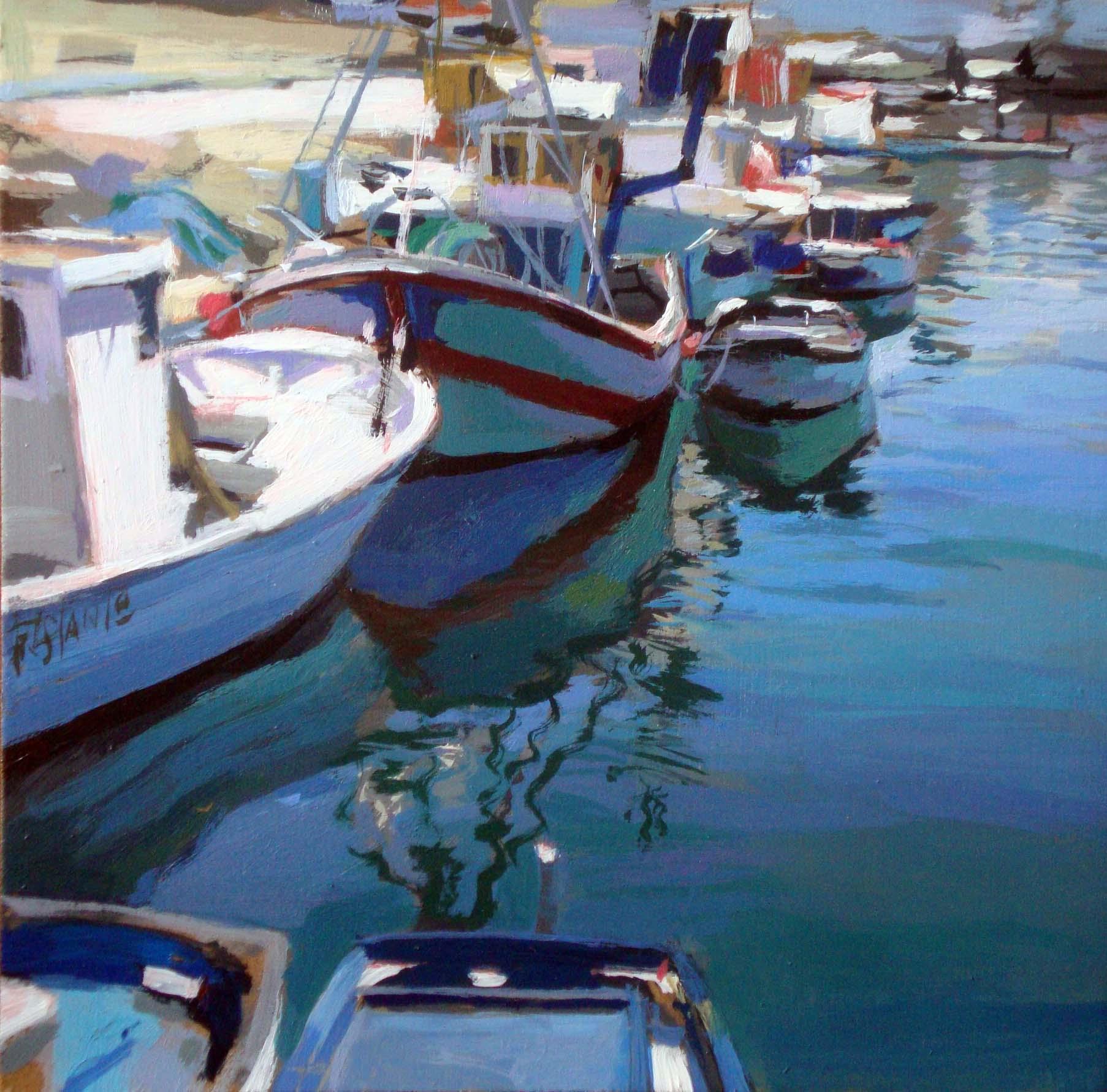 """fishing boats"" original fine art by Víctor Tristante"