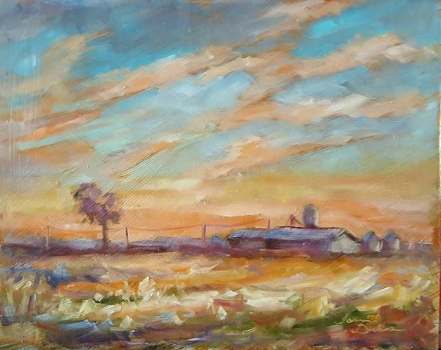 """""""Sunrise over the Farm"""" original fine art by Tammie Dickerson"""