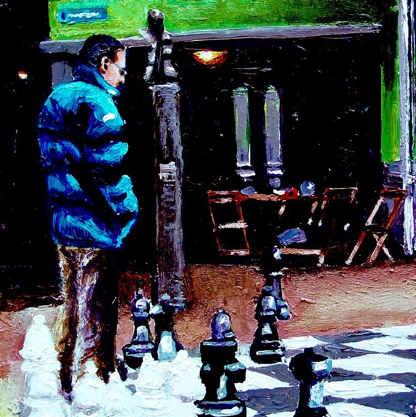 """Chess- Street Scene Painting Of Man Playing Outdoors Chess"" original fine art by Gerard Boersma"