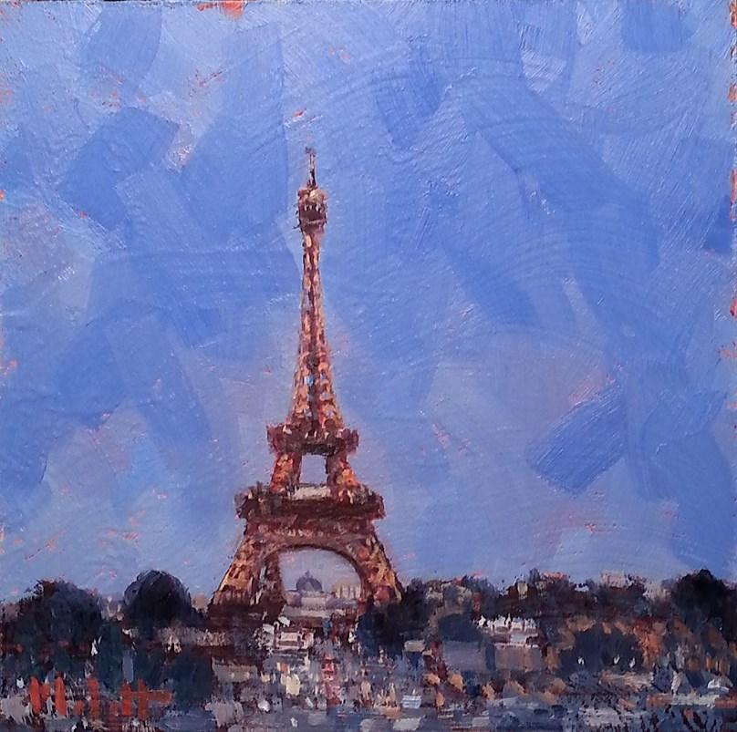 """Eiffel Tower A Night in Paris Oil Painting"" original fine art by Heidi Malott"