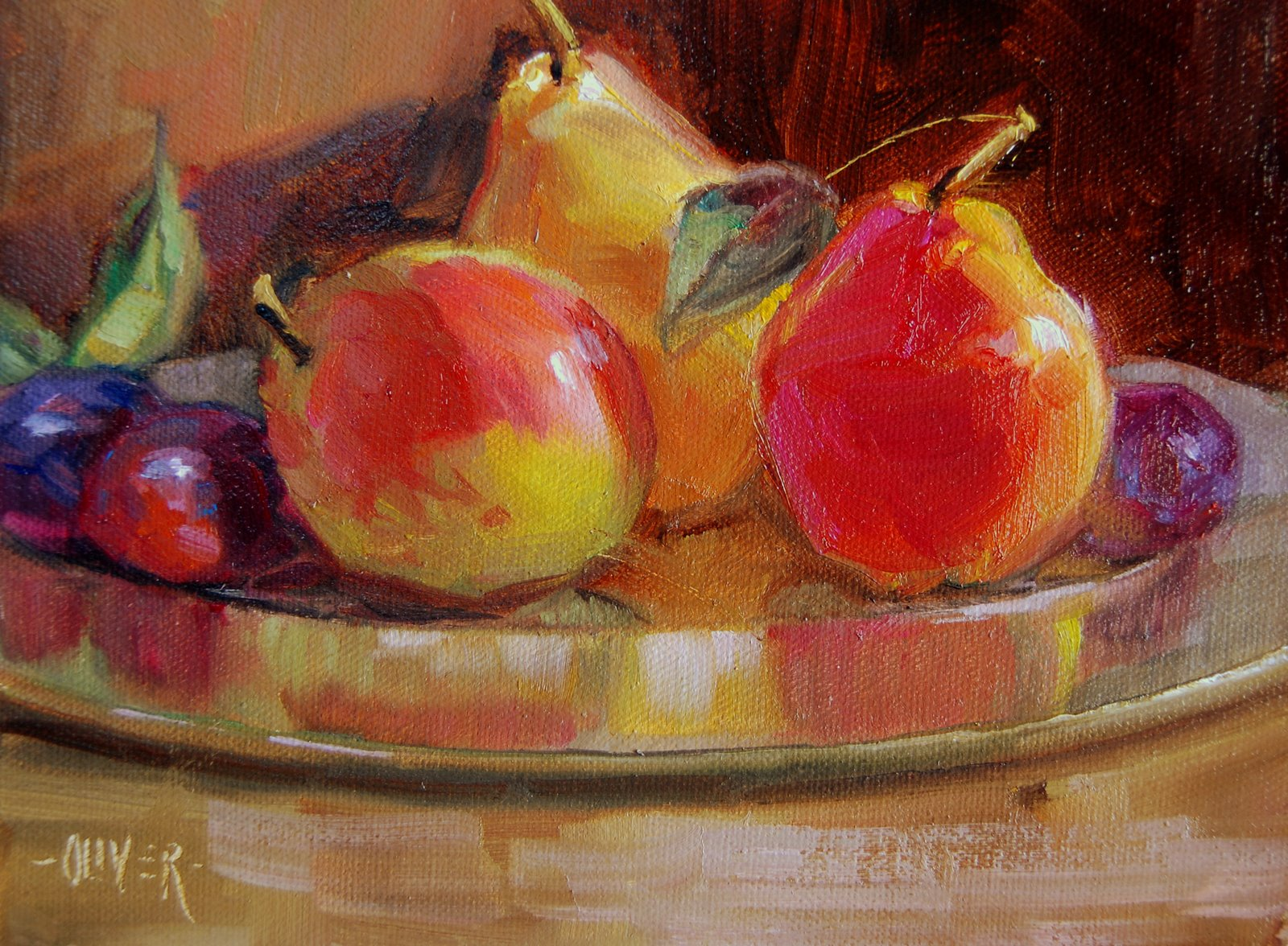 """""""Brass Plate with Pears and Plums"""" original fine art by Julie Ford Oliver"""