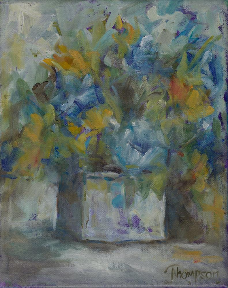 """""""Blue and yellow flowers"""" original fine art by Norma Thompson"""