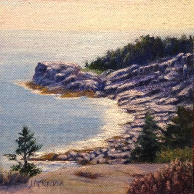 """""""Monhegan Cliffs"""" original fine art by Judith McKenna"""