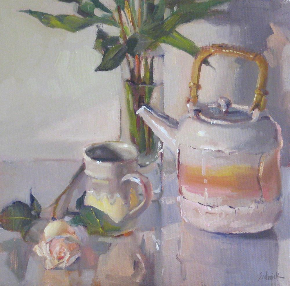 """""""High Tea still life oil daily painting teapot floral flowers white rose"""" original fine art by Sarah Sedwick"""