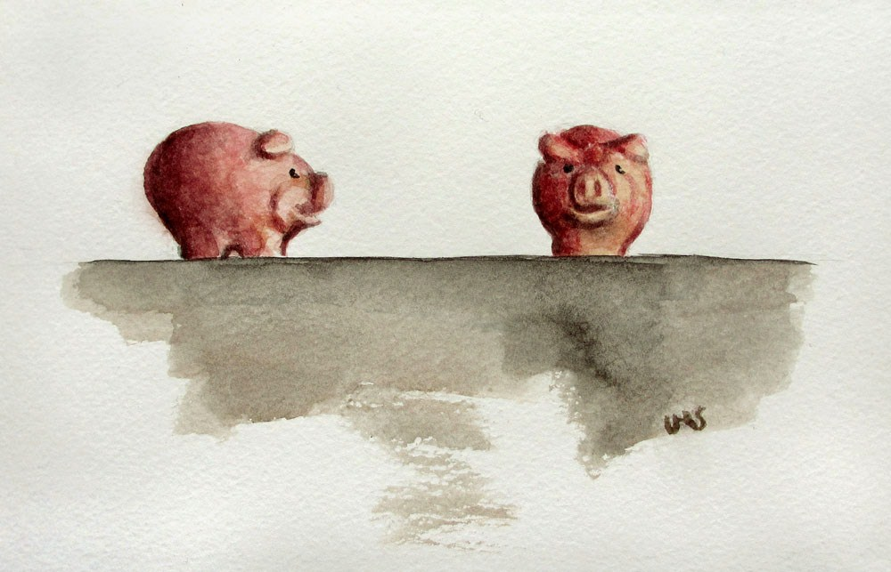 """Good-Luck Pigs"" original fine art by Ulrike Miesen-Schuermann"