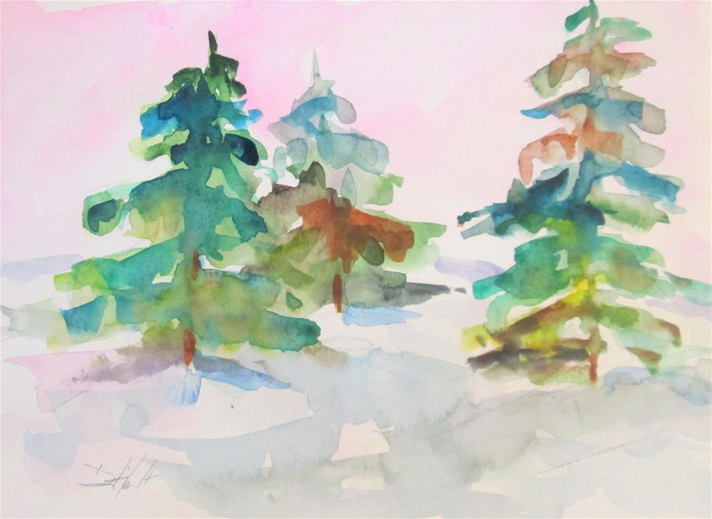 """Pine Trees No. 2"" original fine art by Delilah Smith"