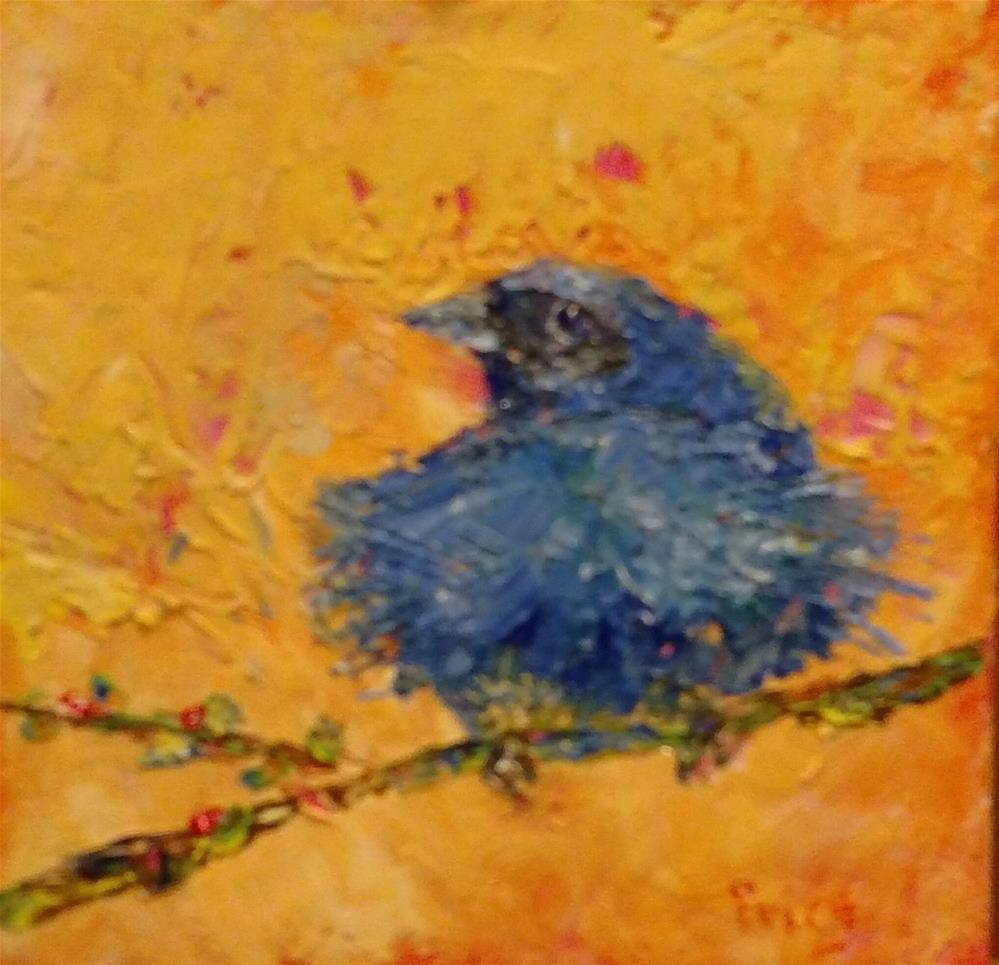 """Mellow Indigo Bunting"" original fine art by S. Lynne Price"