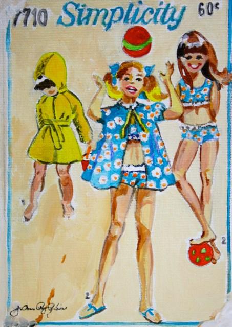"""""""Vintage Summer Girls"""" original fine art by JoAnne Perez Robinson"""
