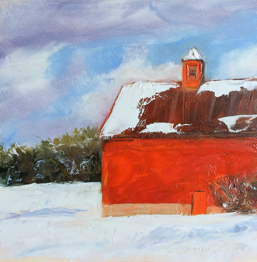 """#161 - Red Barn in Winter - Stowe, VT"" original fine art by Sara Gray"