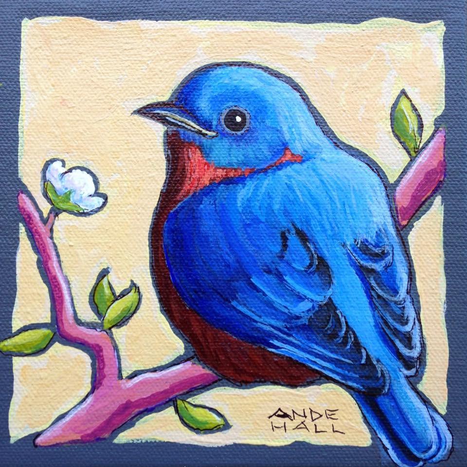 """Eastern Bluebird"" original fine art by Ande Hall"