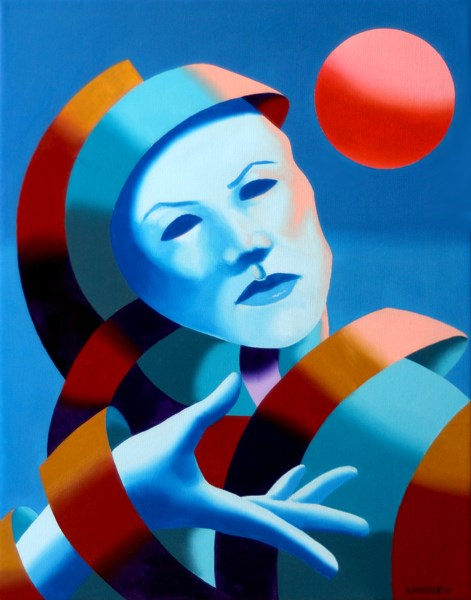 """Mark Webster - Untitled Abstract Blue Mask Oil Painting"" original fine art by Mark Webster"