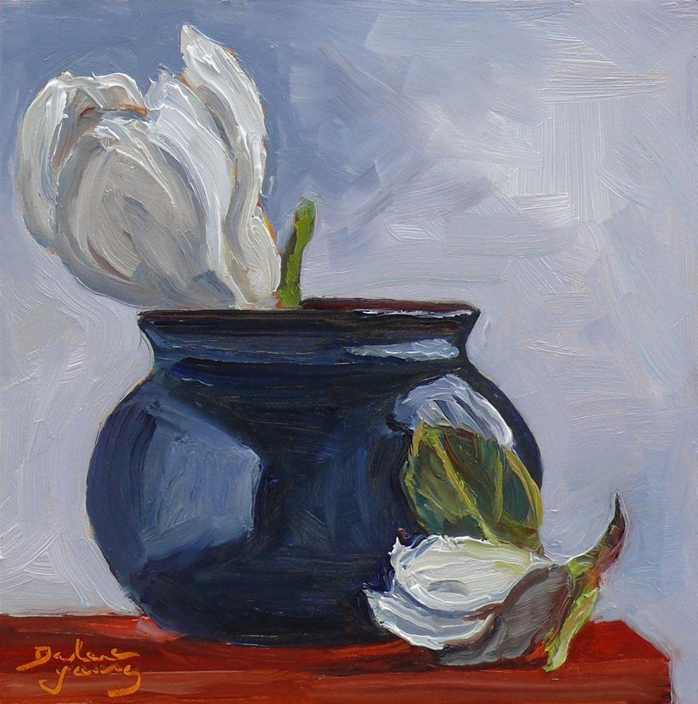 """""""628 Still Life With Magnolia Blossoms"""" original fine art by Darlene Young"""