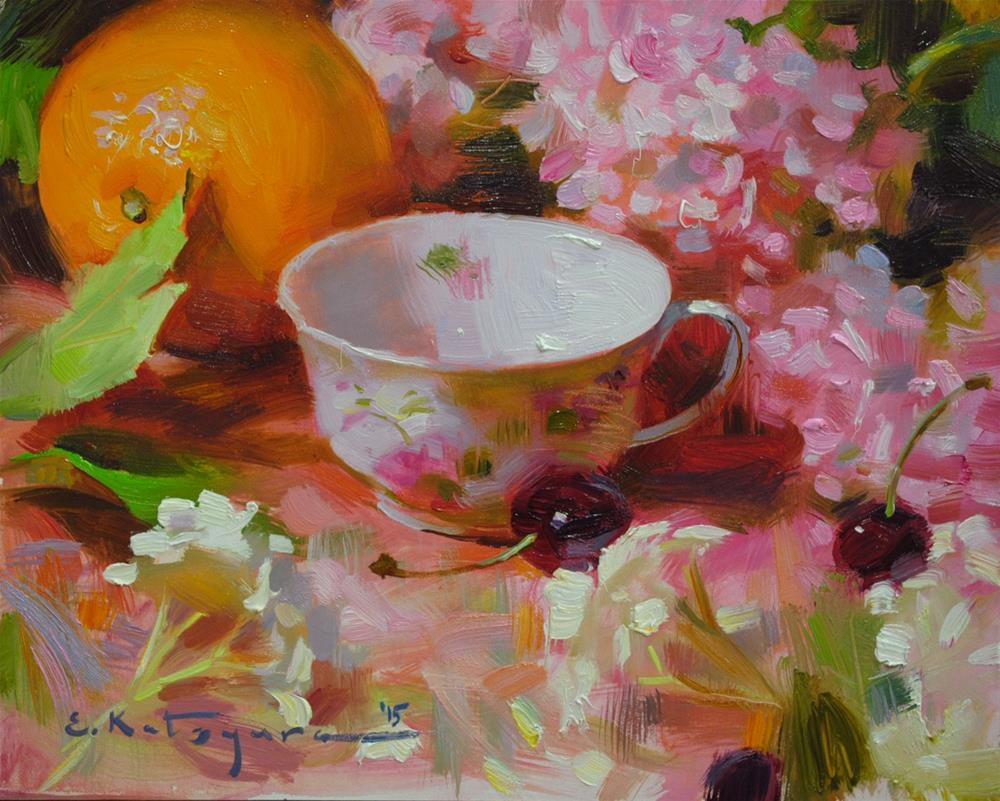 """Teacup, Flowers and Orange"" original fine art by Elena Katsyura"