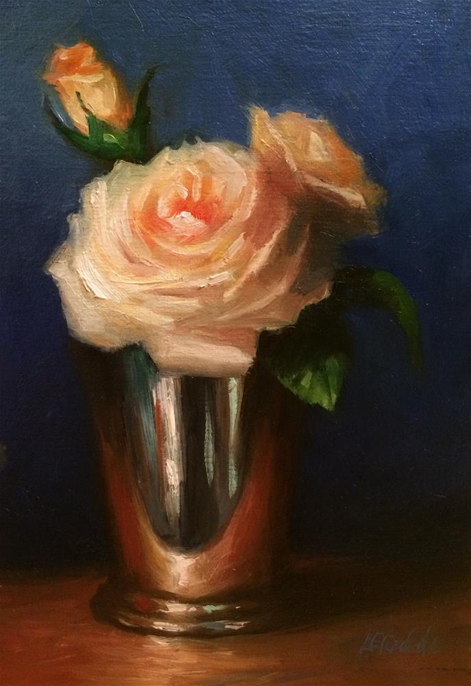 """Cream Roses in Silver Mint Julep Cup, 5x 7 Oil on linen Panel"" original fine art by Carolina Elizabeth"