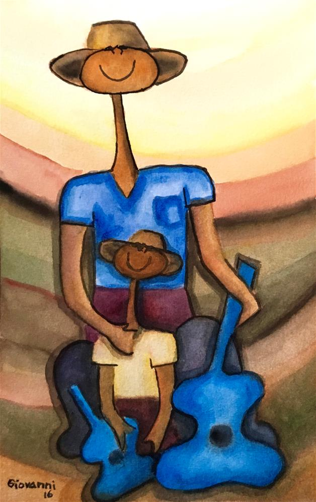"""""""Peasant and son with guitars"""" original fine art by Giovanni Antunez"""