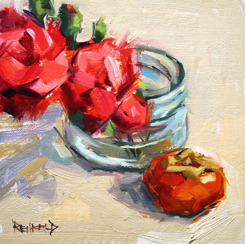 """Flowers and Persimmon"" original fine art by Cathleen Rehfeld"