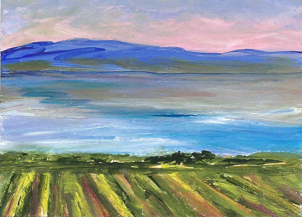 """6093 - OKANAGAN VINYARD ACEO with frame"" original fine art by Sea Dean"