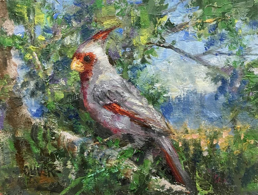 """""""The Desert Cardinal"""" original fine art by Julie Ford Oliver"""