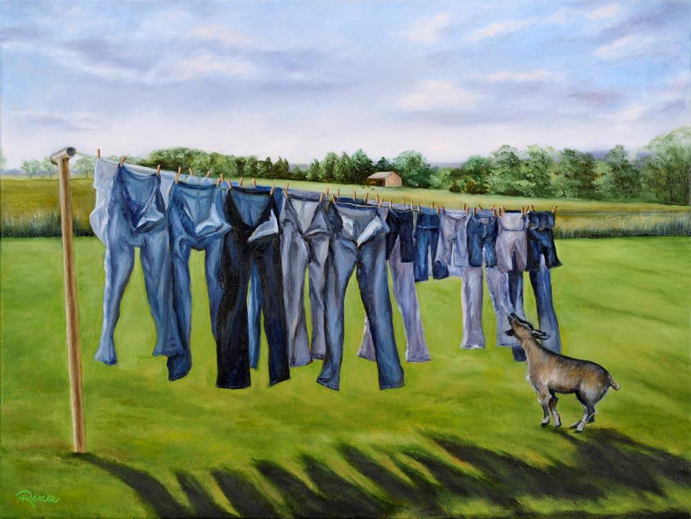 """""""Green Jeans"""" original fine art by Renee Hackmann"""