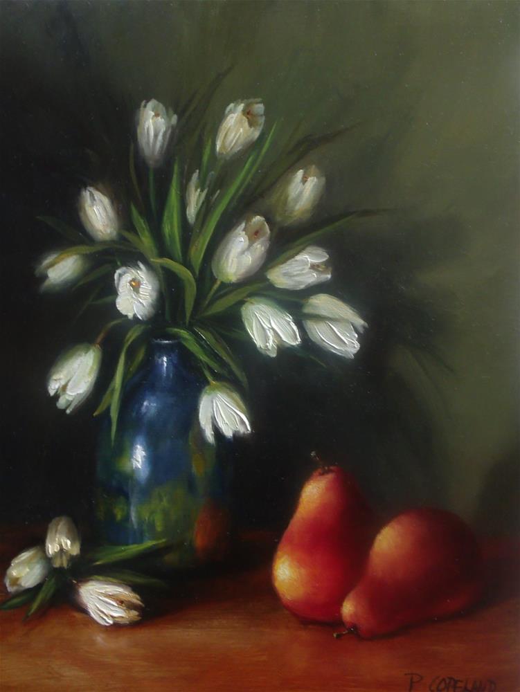 """Tulips and Pears"" original fine art by Pamela H. Copeland"