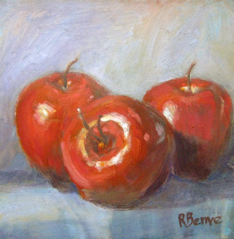 """""""Three Apples"""" original fine art by Robie Benve"""